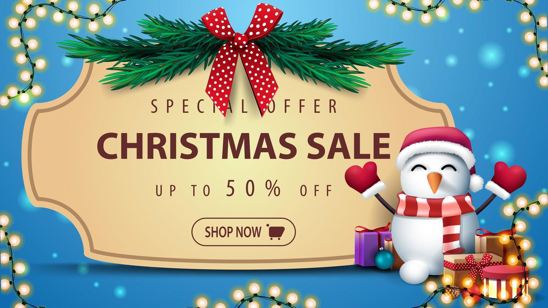 banner met vintage frame en kerstboomtakken vector