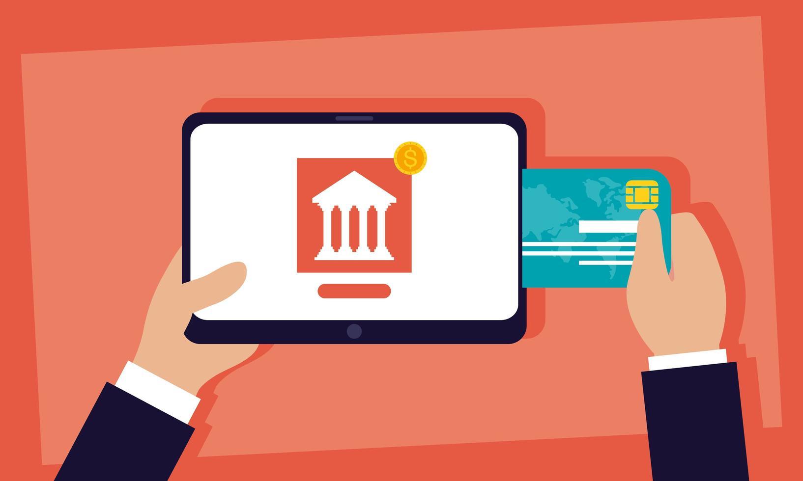 technologie voor online bankieren met tablet vector
