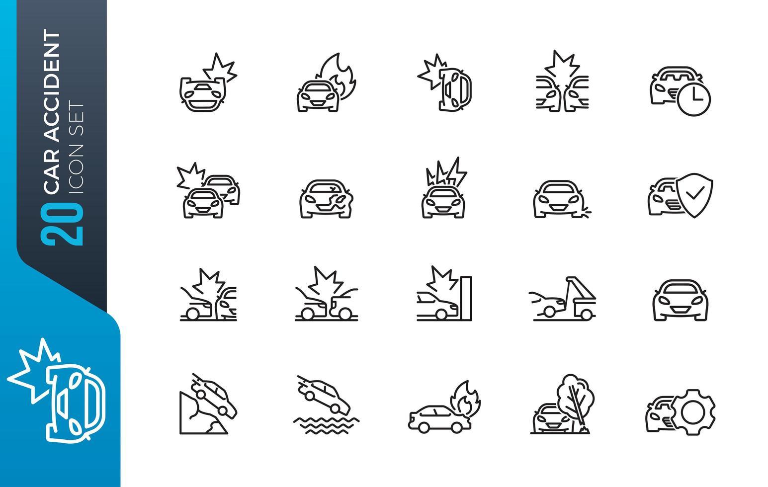 auto-ongeluk pictogramserie vector