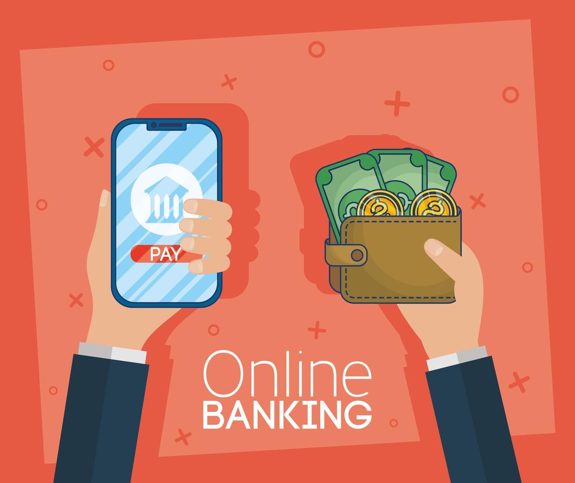technologie voor online bankieren met smartphone vector