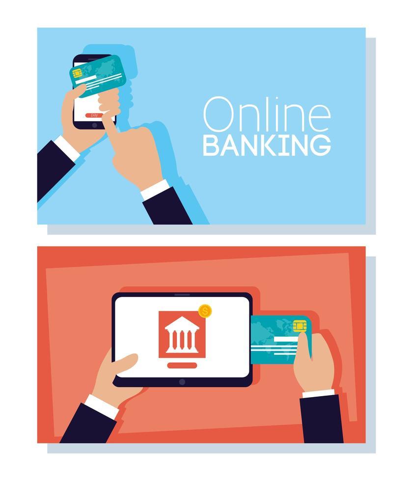 technologiebanner voor online bankieren met elektronische apparaten vector