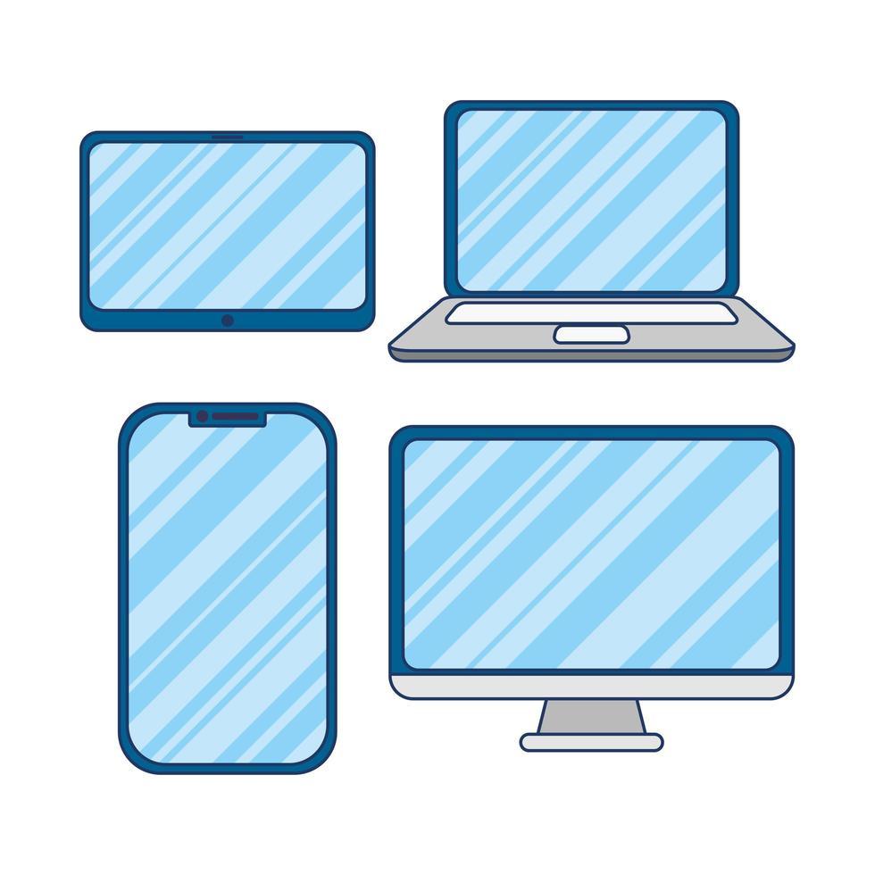 elektronische apparaten pictogramserie vector