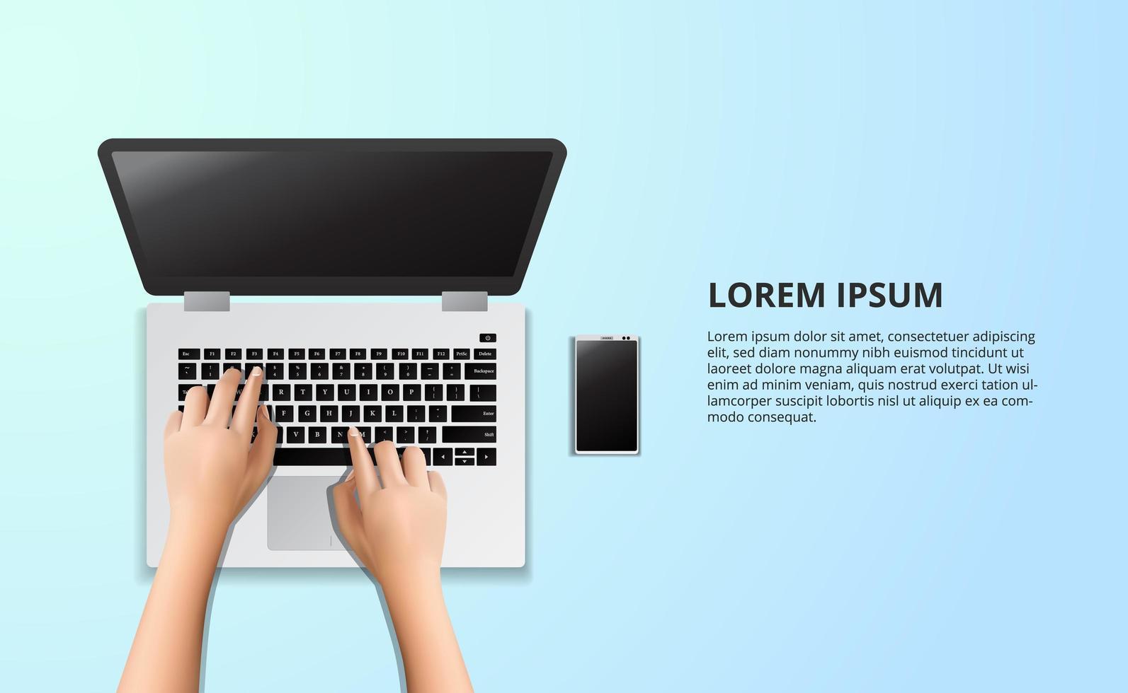 laptop typen op de houten tafel met illustratie vector