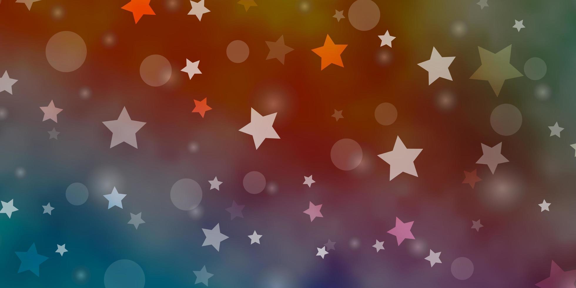 blauwe, rode achtergrond met cirkels, sterren. vector
