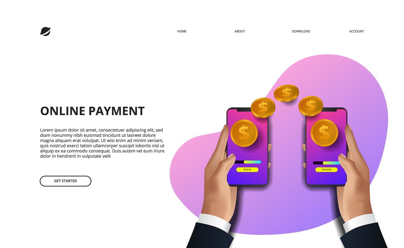 online betalingslandingspagina zakelijke financiën e-commerce vector
