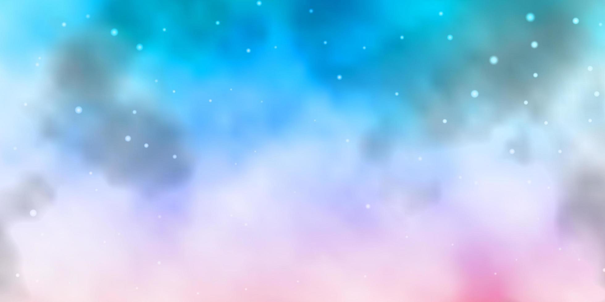 lichtblauwe, roze achtergrond met kleurrijke sterren. vector