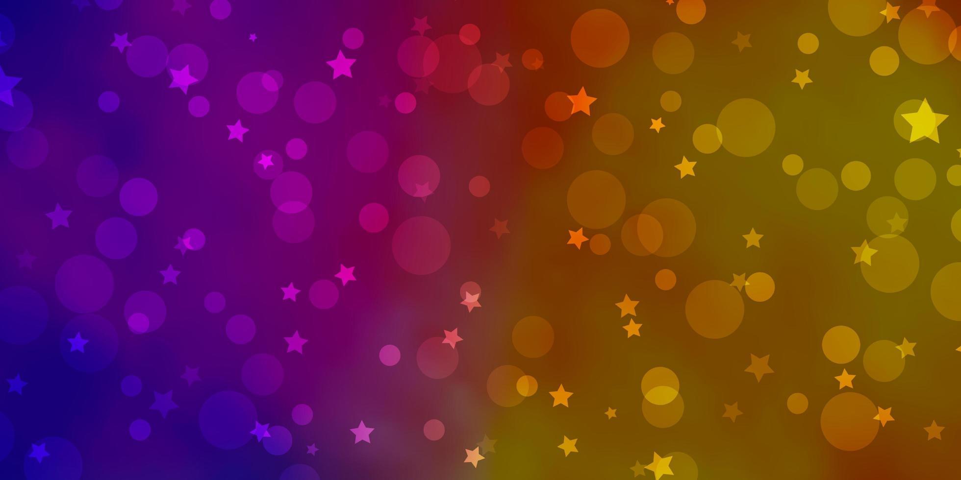 lichtroze, geel vectorpatroon met cirkels, sterren. vector