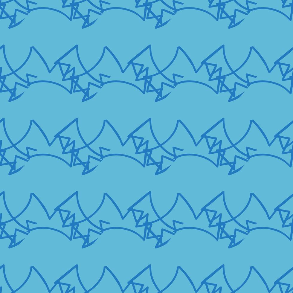 hand getekend blauw Krabbel lijnen patroon vector