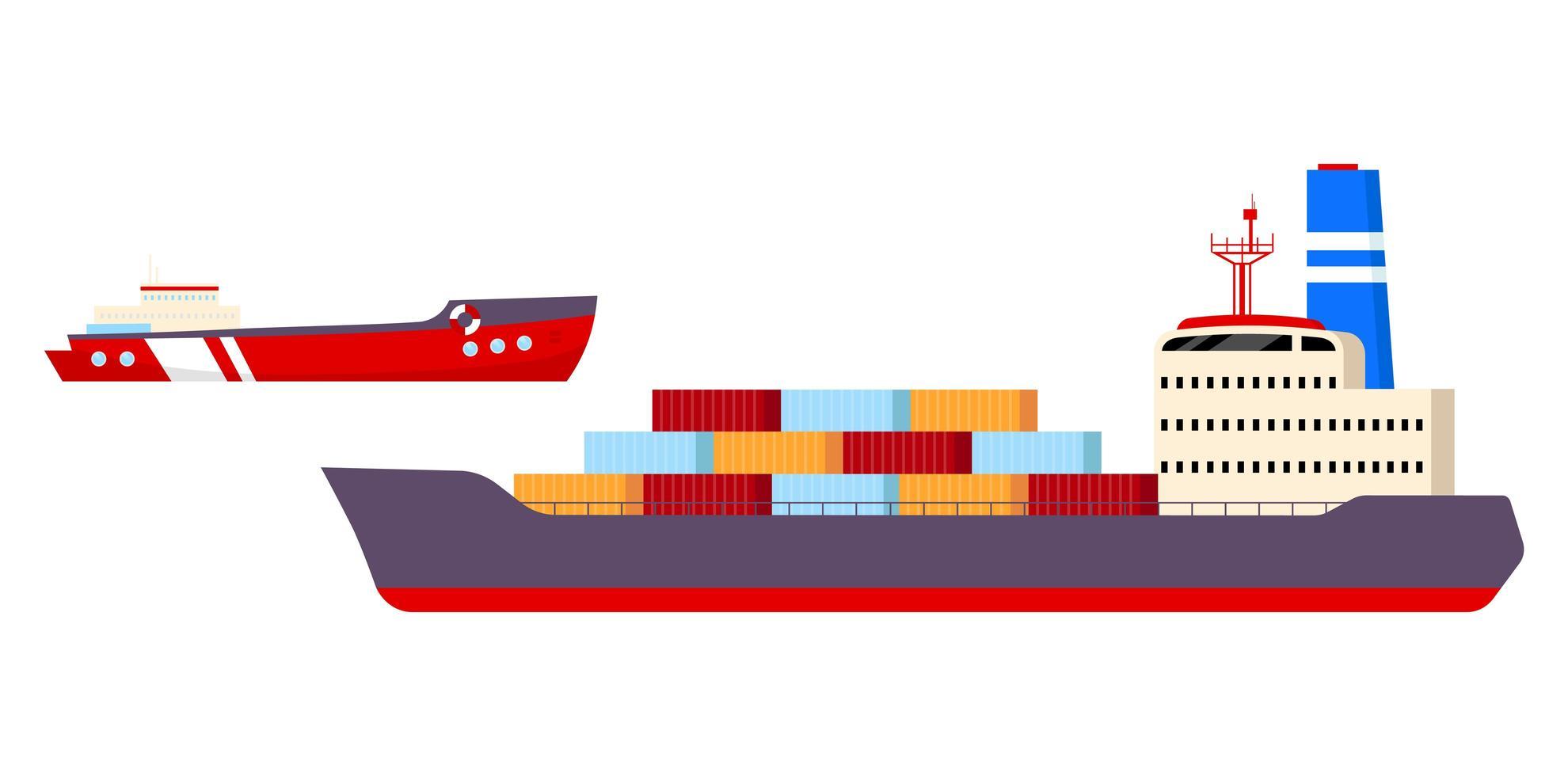 vrachtschepen objecten ingesteld vector