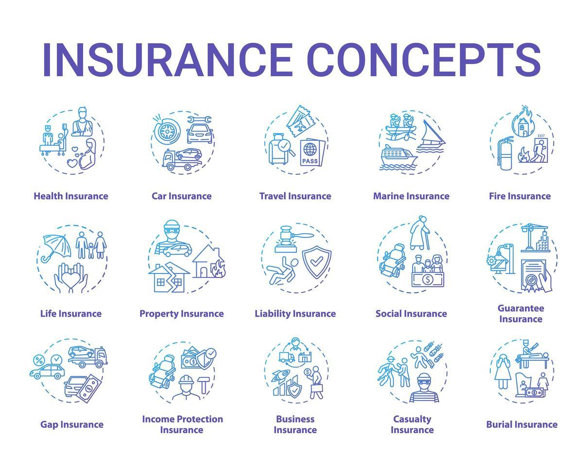 verzekering concept pictogrammen instellen. vector