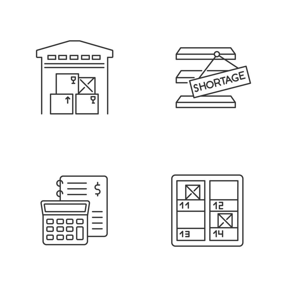 magazijnbeheer lineaire pictogrammen instellen. vector