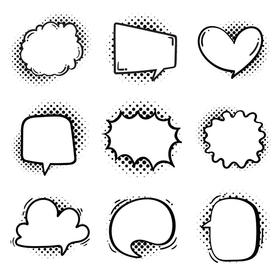 verzameling van halftone tekstballonnen in komische stijl vector