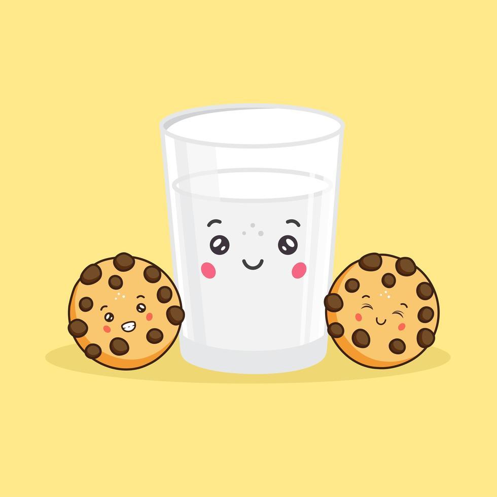 schattig melkglas en koekjes met chocoladeschilfers vector