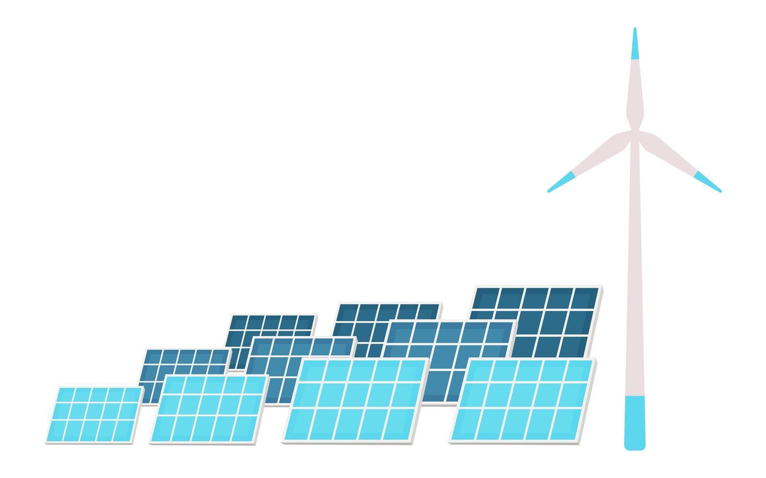 zonnepanelen en windturbine vector