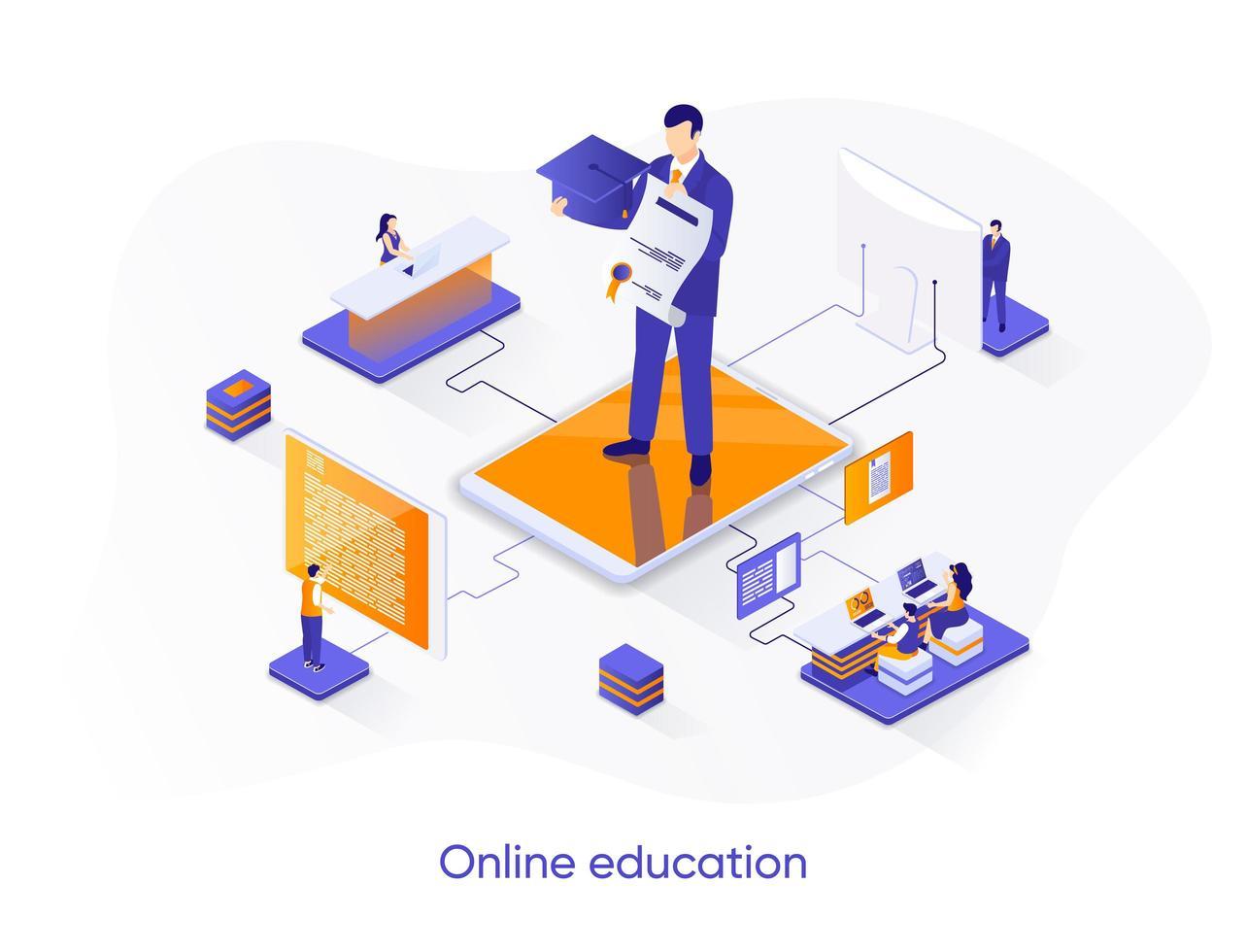 online onderwijs isometrische webbanner. vector