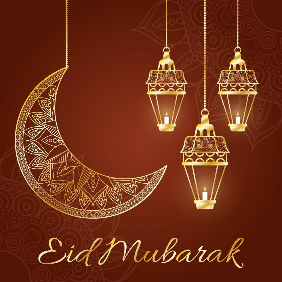 eid mubarak-vieringslampen die met maan hangen vector