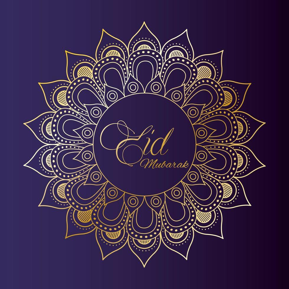 eid mubarak viering banner met gouden mandala vector