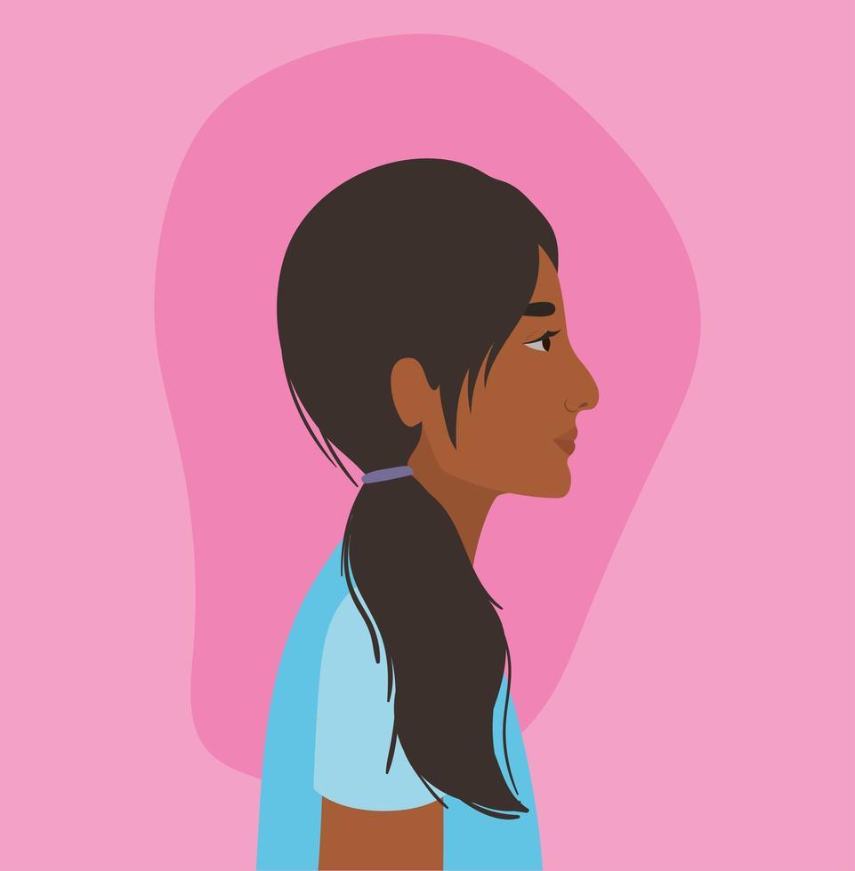 Indiase vrouw cartoon in zijaanzicht ontwerp vector