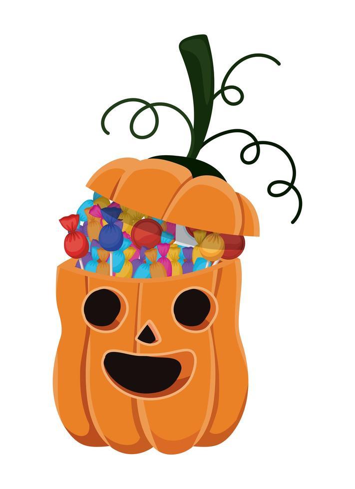 halloween-pompoenbeeldverhaal met suikergoedontwerp vector