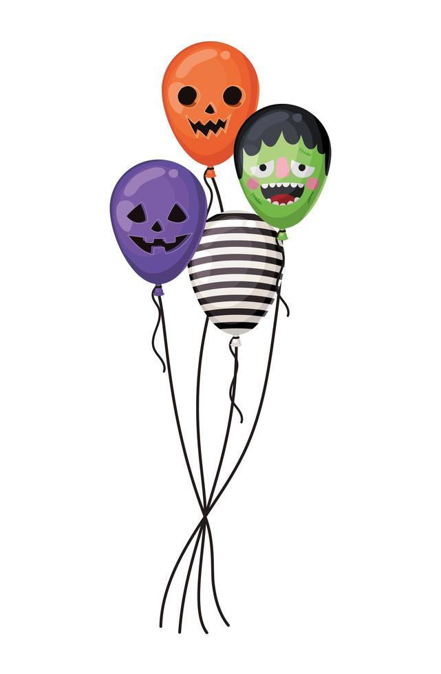 halloween pompoen frankenstein en gestreepte ballonnen vector