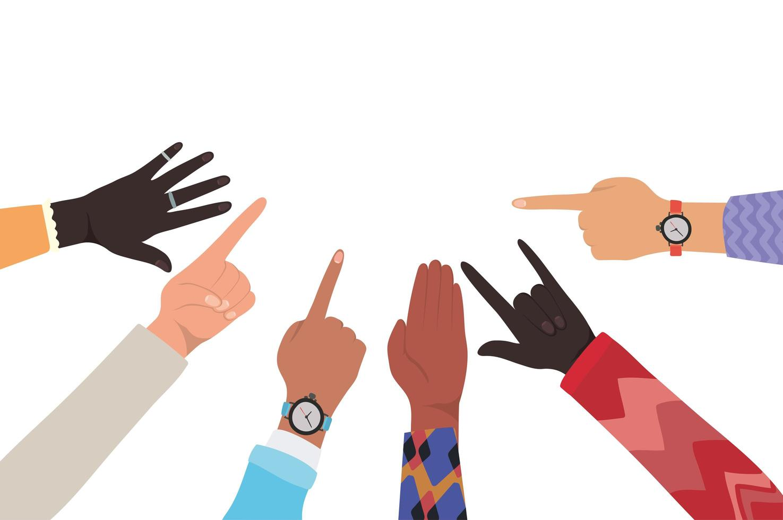 handen met nummer één en stenen bord vector