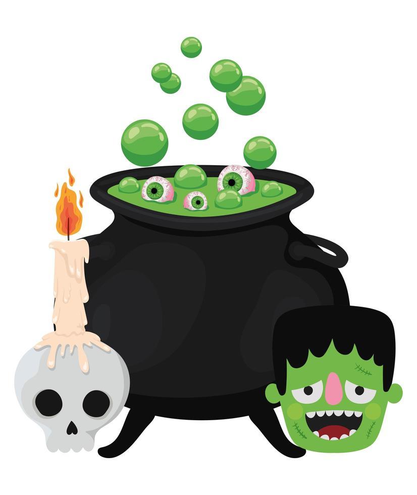 halloween heksenkom schedel en frankenstein-ontwerp vector
