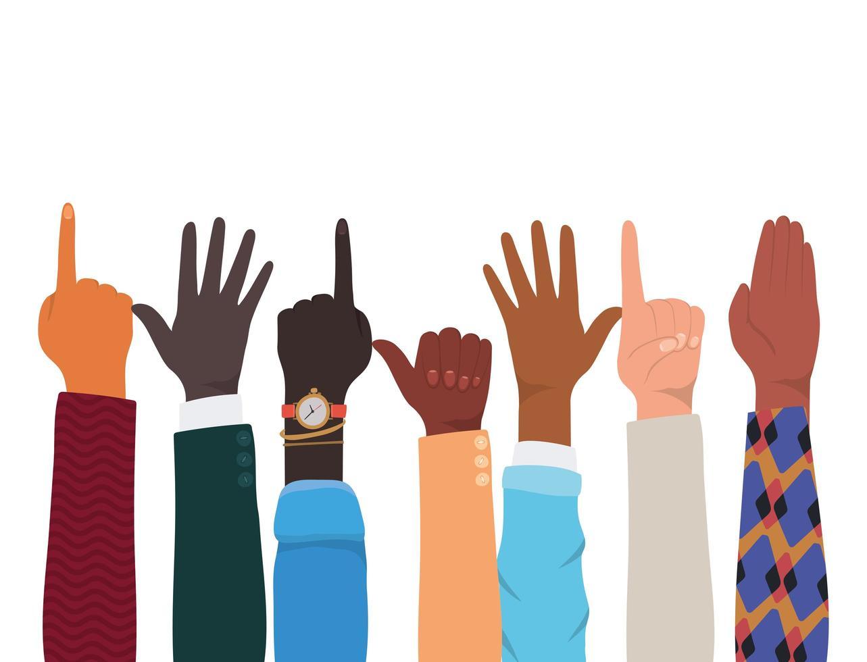 handen met nummer één en soortgelijk teken vector