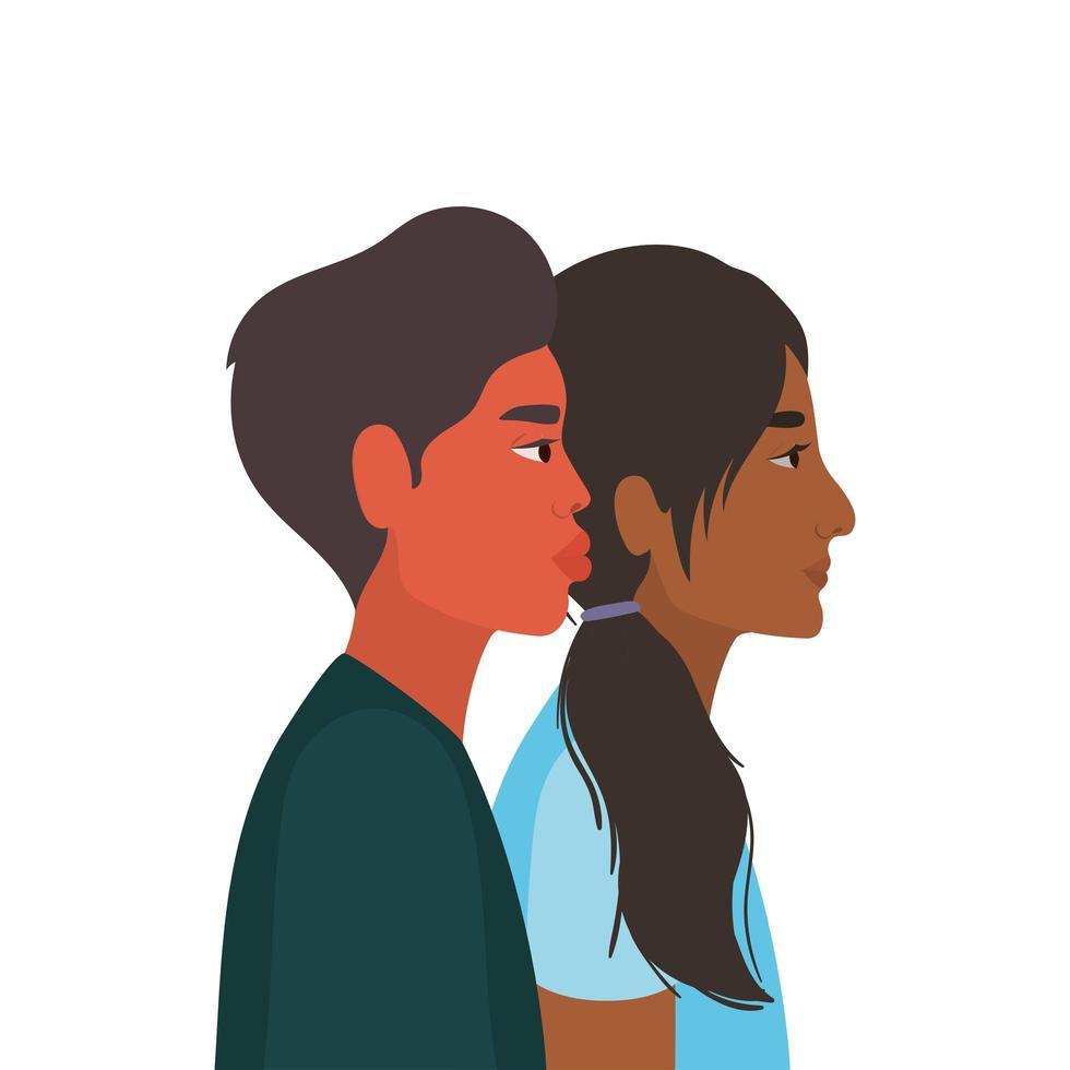vrouw en man cartoon in zijaanzicht vector