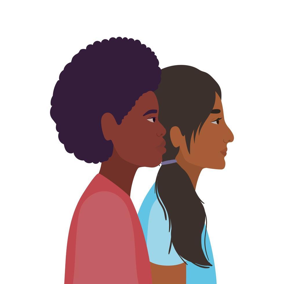 Indiase vrouw en zwarte man cartoon vector
