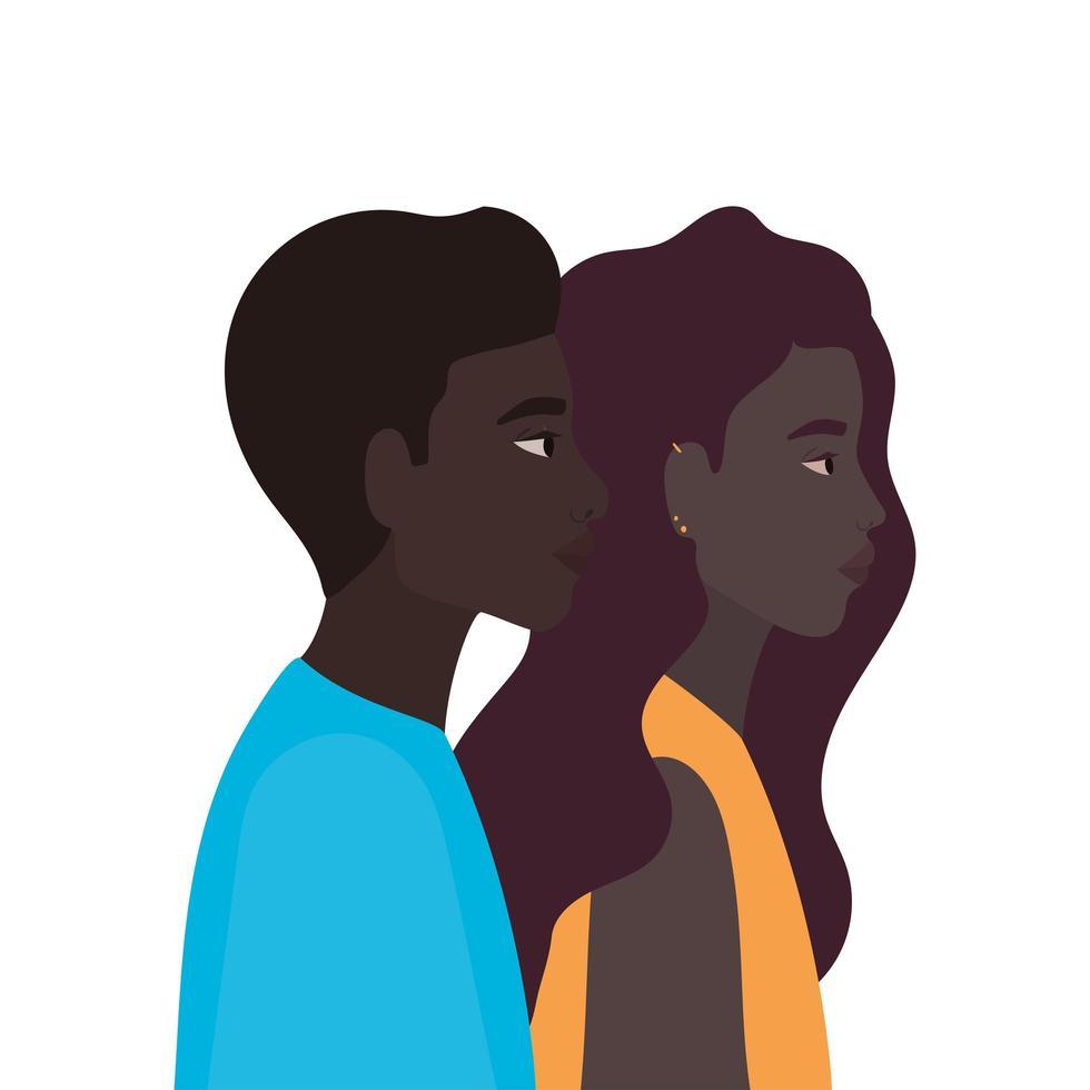 zwarte vrouw en zwarte man cartoon vector