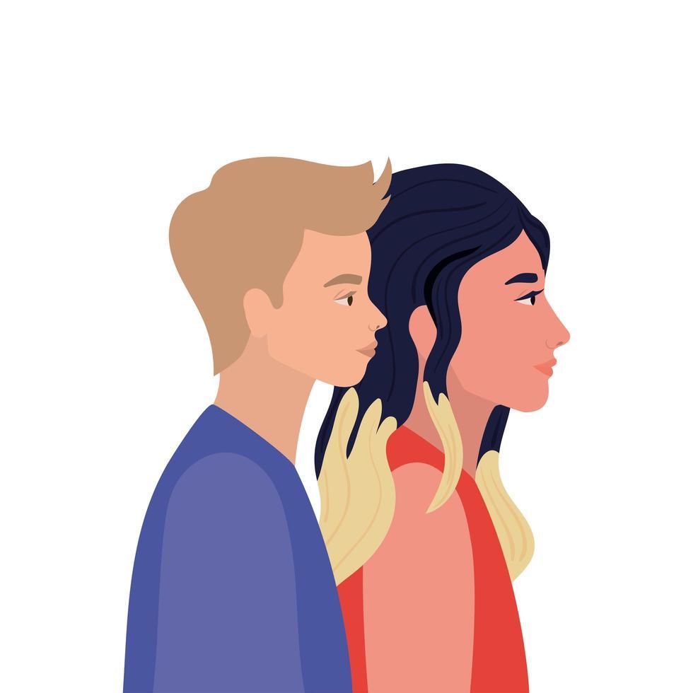 vrouw en blonde man cartoon in zijaanzicht vector