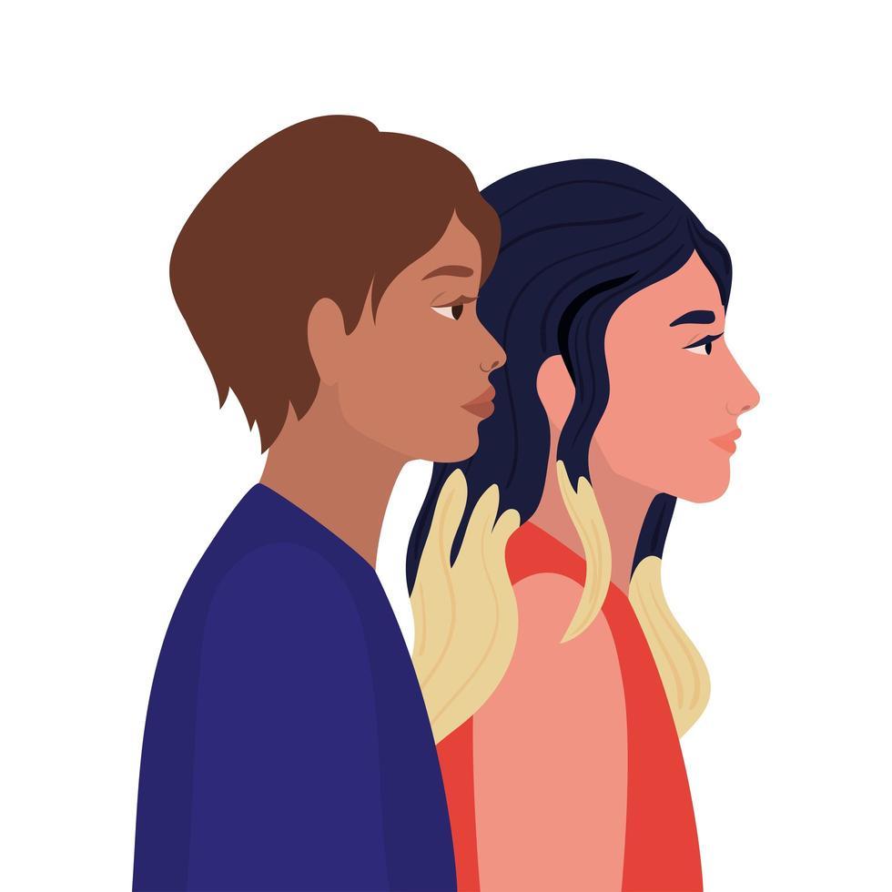 vrouw en bruin haar man cartoon vector