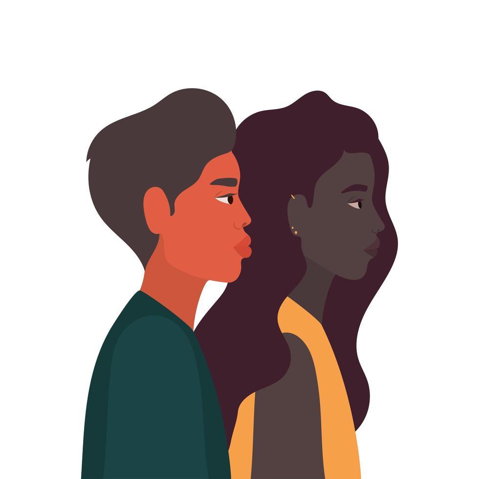 zwarte vrouw en man cartoon in zijaanzicht vector