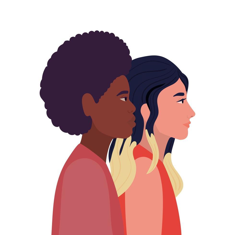 vrouw en zwarte man cartoon in zijaanzicht vector