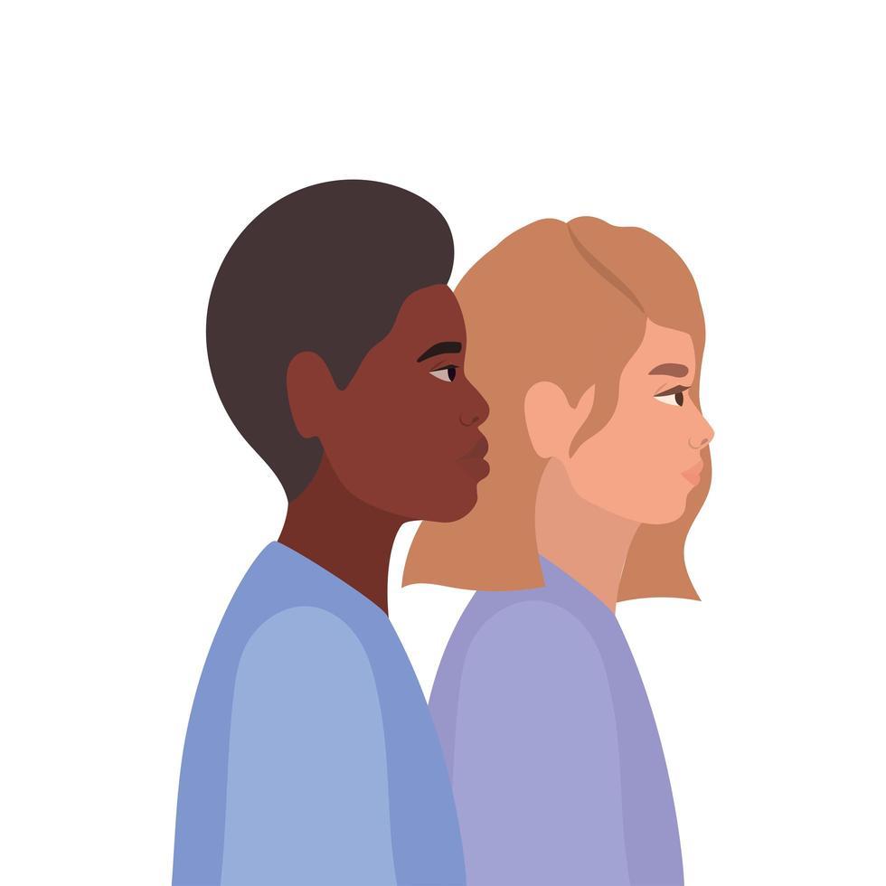 vrouw en zwarte man cartoon in zijaanzicht ontwerp vector
