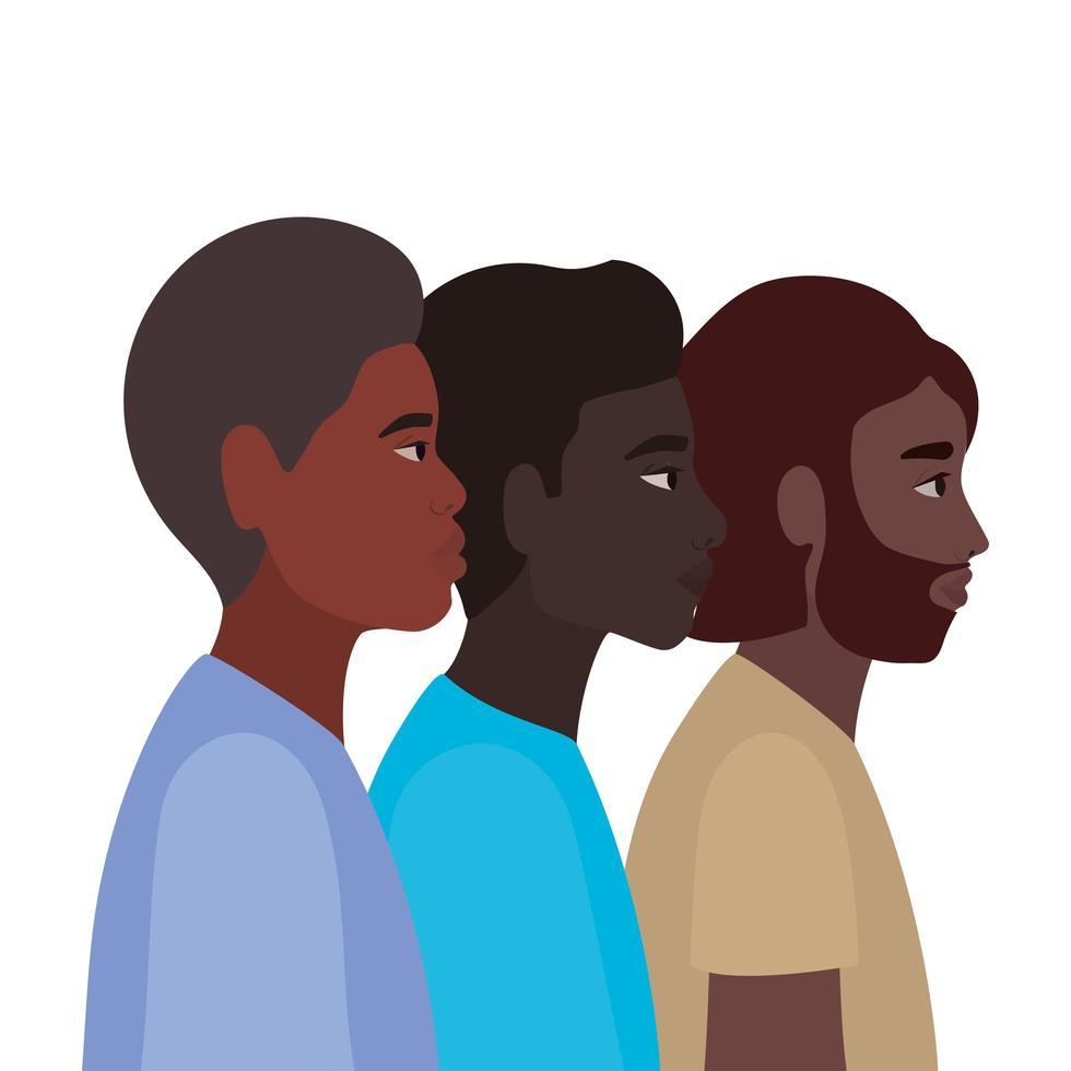zwarte mannen cartoons in zijaanzicht ontwerp vector