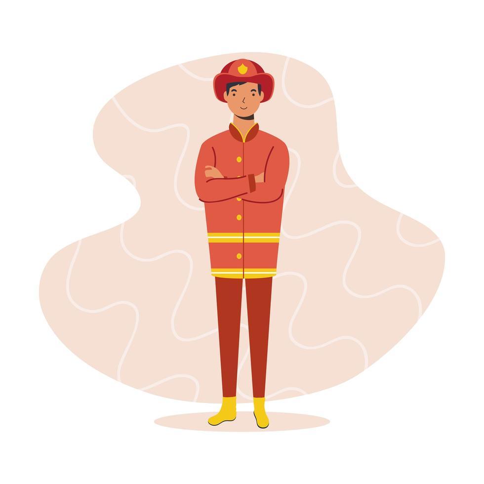 brandweerman, essentieel karakter van de werknemer vector