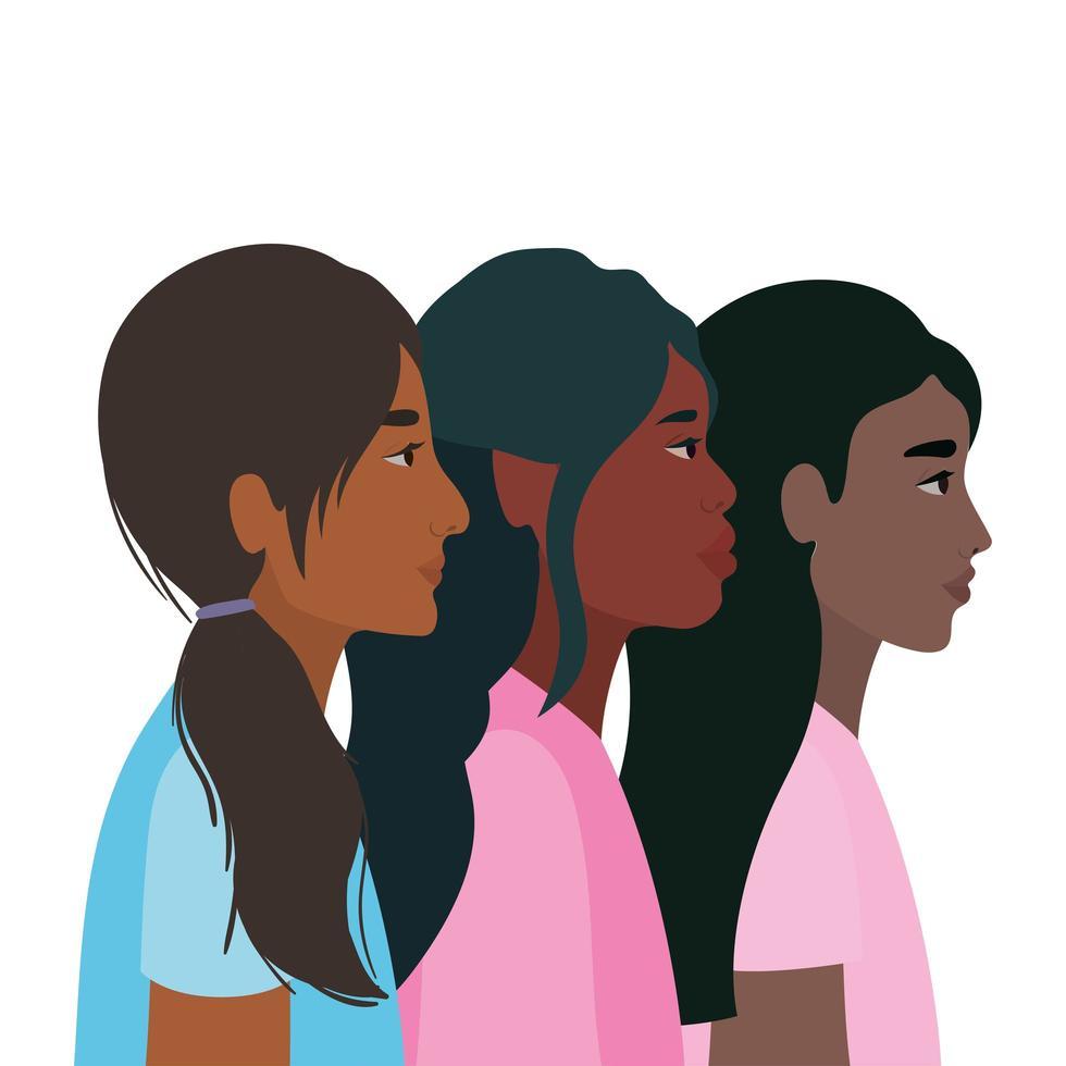 zwarte vrouwencartoons in zijaanzichtontwerp vector