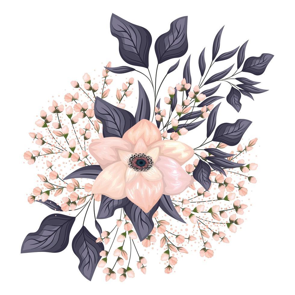 lichtroze bloem met knoppen en bladeren schilderen vector