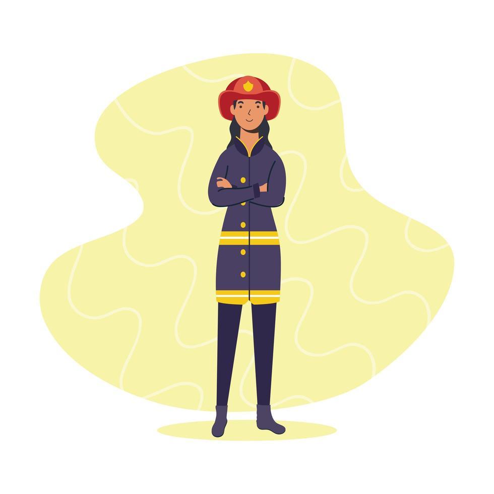 vrouwelijke brandweerman, essentieel werkpersoneel vector