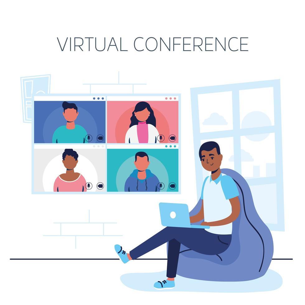 man op de laptop voor een virtuele telefonische vergadering vector
