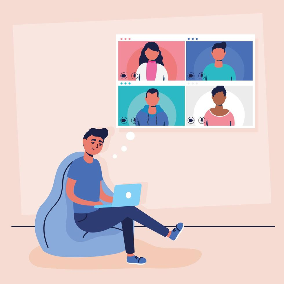 man met laptop voor een virtuele telefonische vergadering vector