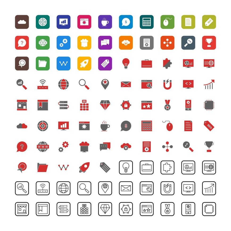 icon set van zoekmachineoptimalisatie voor persoonlijk en commercieel gebruik. vector