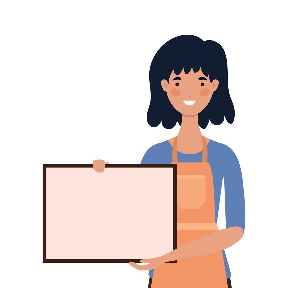 verkoopsterbeeldverhaal met schort en banner vector