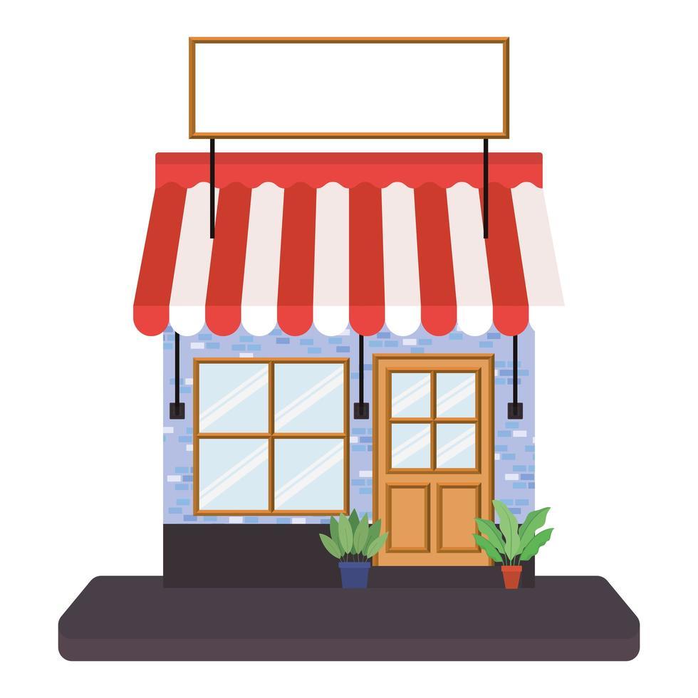winkel met tent en banner voor tekst vector