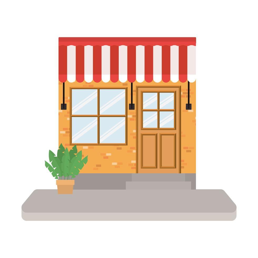 winkel met tent en plant in pot vector
