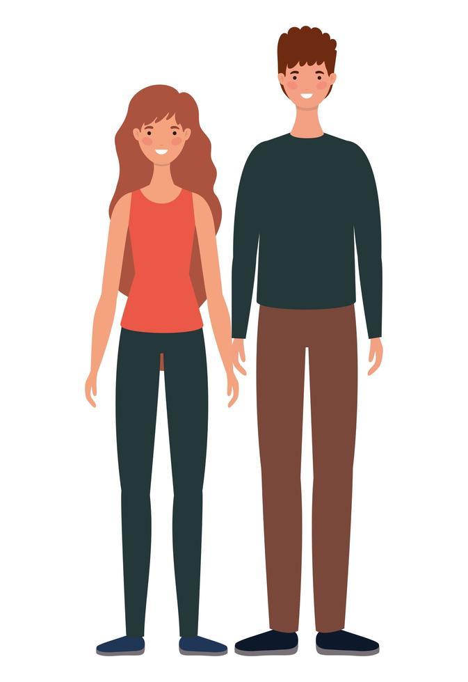 geïsoleerde vrouw en man avatars cartoons vector
