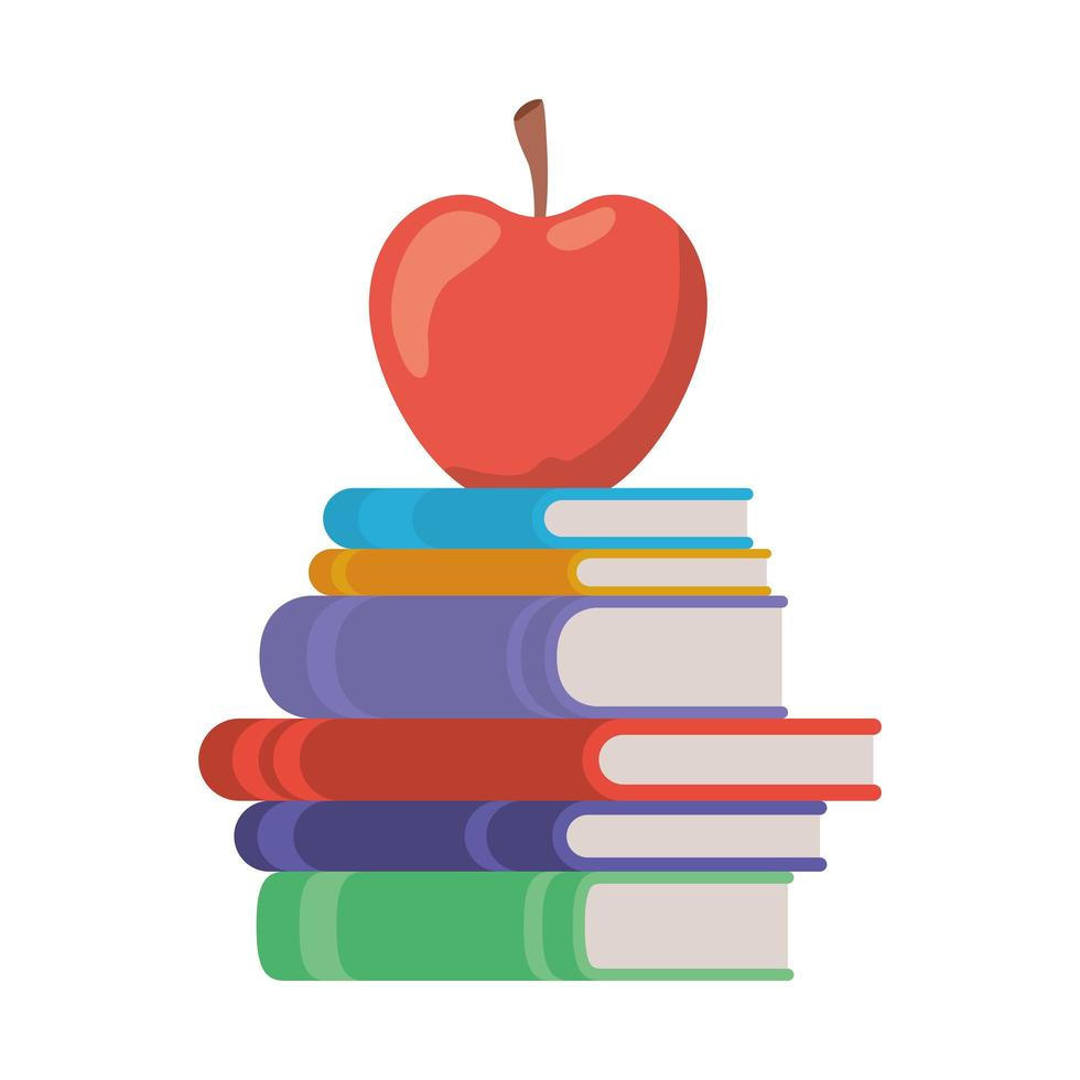 stapel boeken met fruit appelpictogram vector