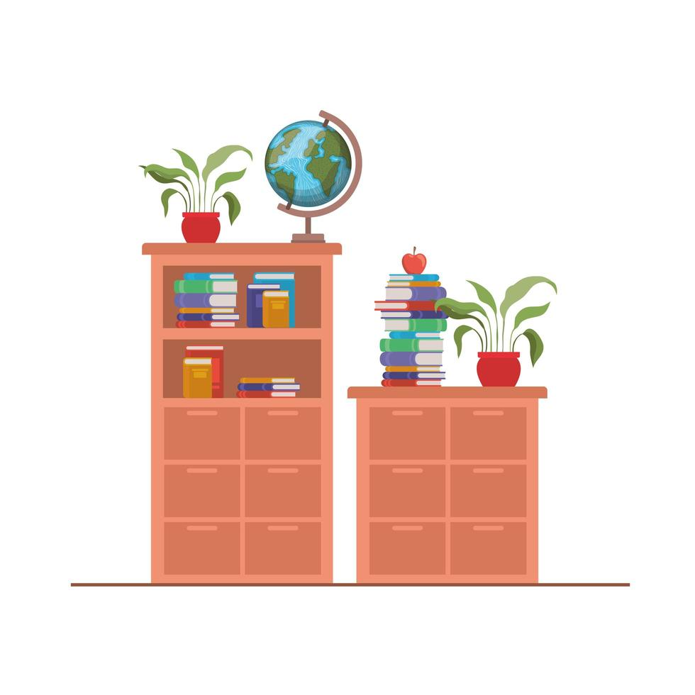 boekenplank met schoolboeken vector