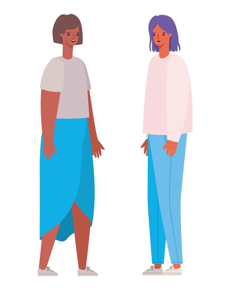 vrouwen avatars cartoon ontwerp vector